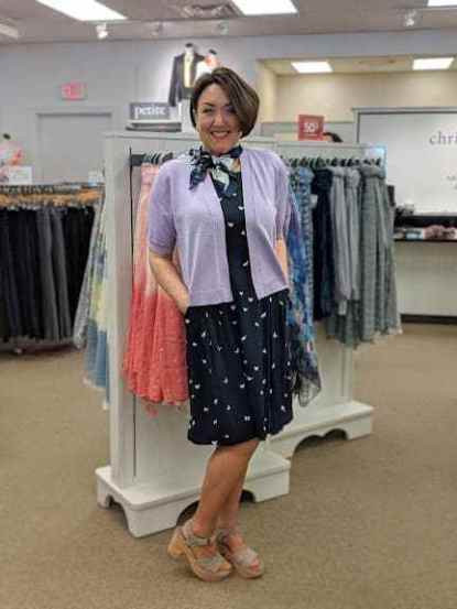butterfly print challis dress lilac cropped dress topper cardigan