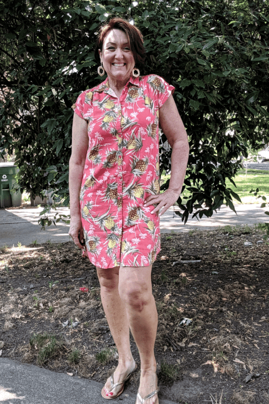 Old Navy Linen-Blend Shirt Dress with coral pineapple print