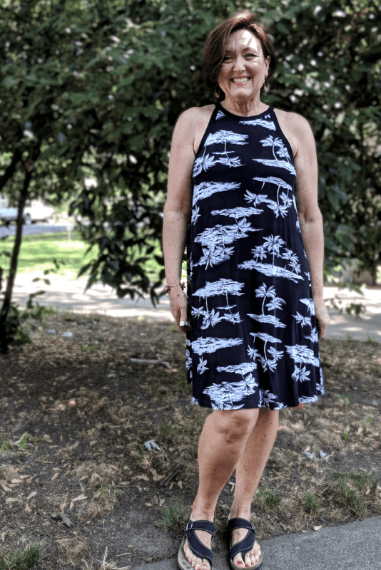 Old Navy Jersey Swing Dress black and white tropical print