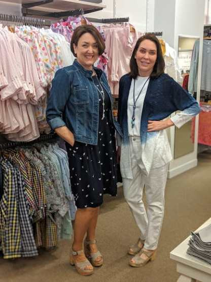 fitted blue jean jacket over a navy butterfly printed dress christopher and banks navy ombre cardigan over white jeans