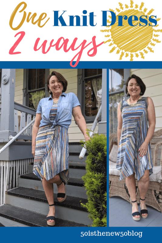 One Summer knit t shirt dress shown two ways.