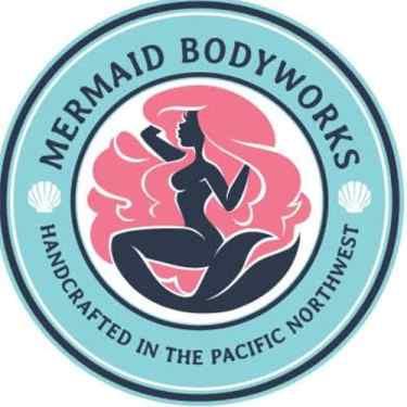 hand drawn logo for mermaid bodyworks soaps pacific northwest