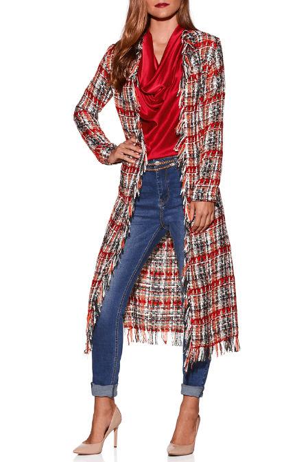 beyond proper tweed full length coat