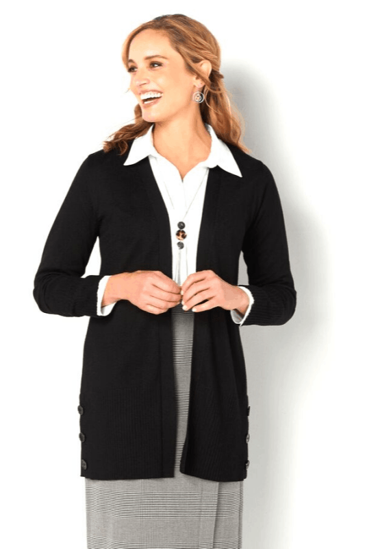 This soft open-front Cardigan is such a versatile layering piece, and the buttons near the hem add a touch of flair to its already-stylish design.