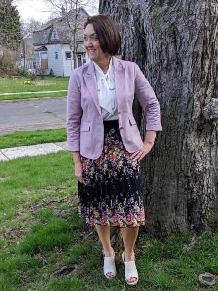 Pastel Blazers | Lark & Roe Tie Neck Blouse | Toms Oxford Monica Wedges  lavender mauve pleated skirt