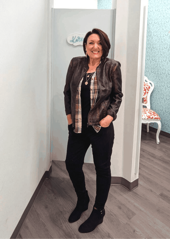 washed faux leather princess seam jacket from Maurices