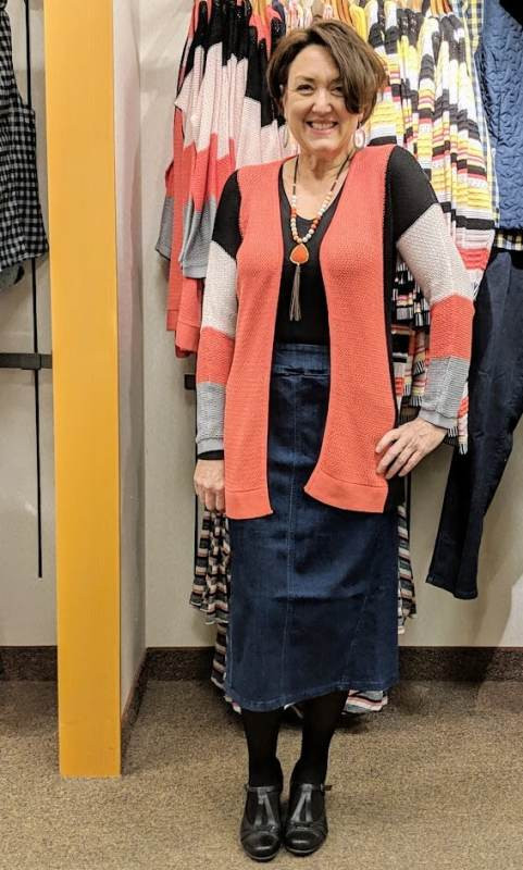 Christopher & Banks colorblock mesh cardigan pull on career denim skirt earth origins meredith women's pumps
