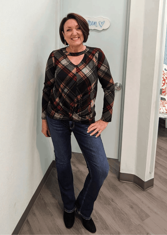 Maurices 24/7 plaid cut out neck twisted tee