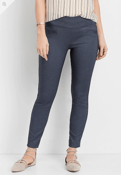 Stretch Pull-on Skinny Ankle Pants in   Denim Criss Cross Dye
