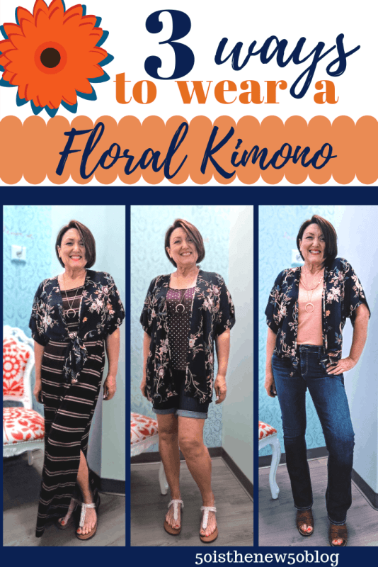 Three ways to wear a floral kimono from Summer, Fall to Spring