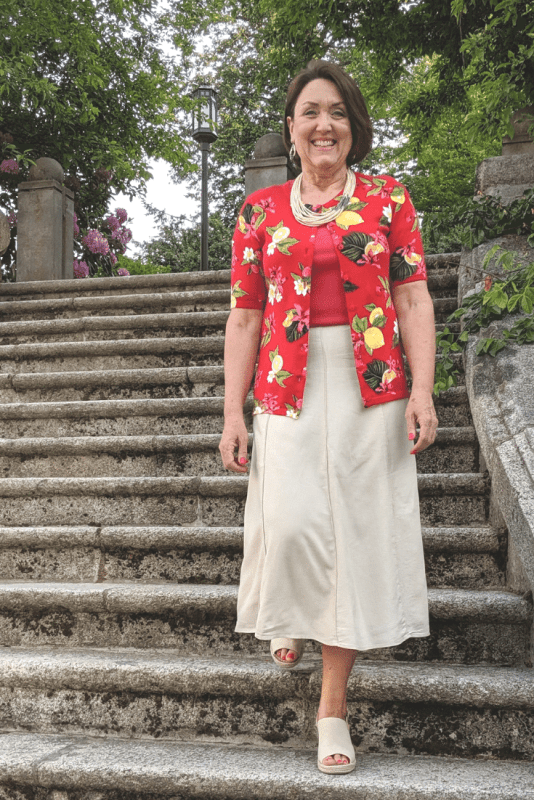 Red Tropical fruit print cardigan and flax linen skirt outfit for Summer at the office.