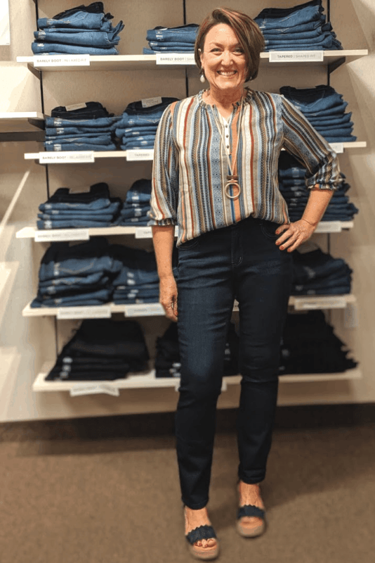 perfect fit tapered leg jeans with boho blouse outfit from christopher and banks
