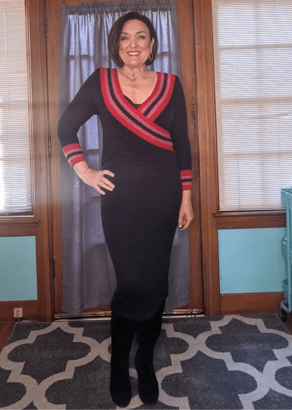 Navy blue knit sweater dress with black knee high boots outfit