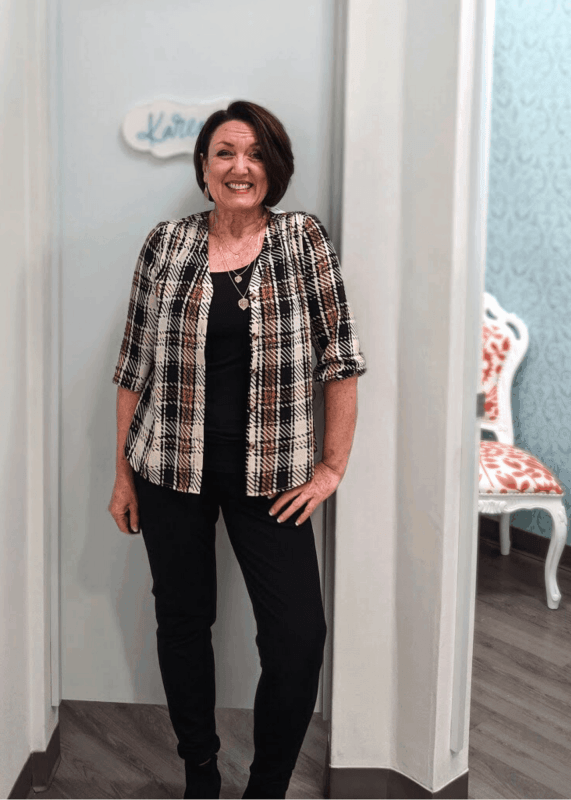 Plaid button down work blouse from Maurices
