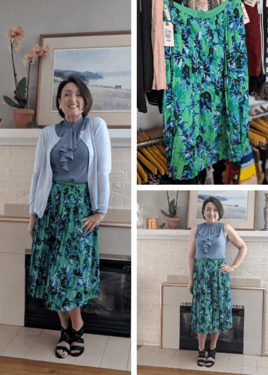 Banana Republic pleated skirt and cardigan outfit from consignment shop.