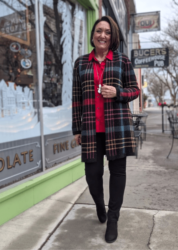 This Colorful Plaid Coatagan Sweater is so pretty in this gorgeous plaid design, infused with metallic thread!