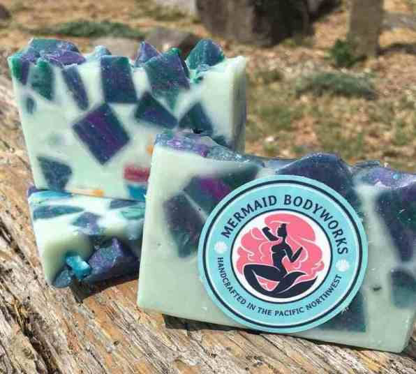 Seaglass soap from mermaid bodyworks made with coconut oil shea butter oil oil and castor oil