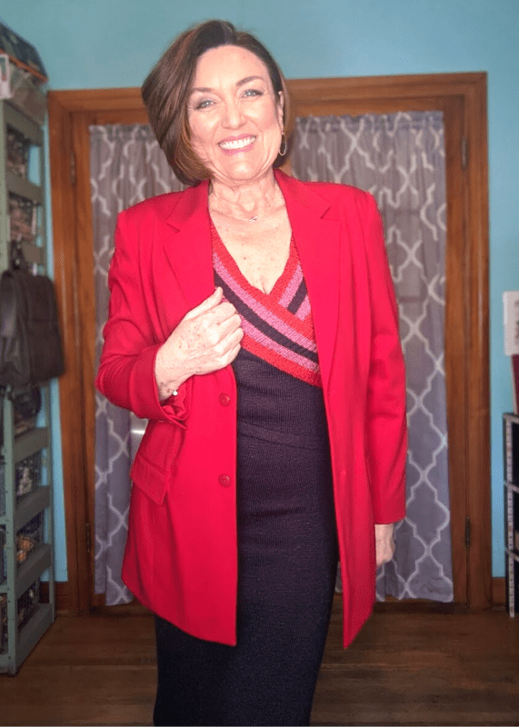 Red over sized blazer with a sweater dress outfit