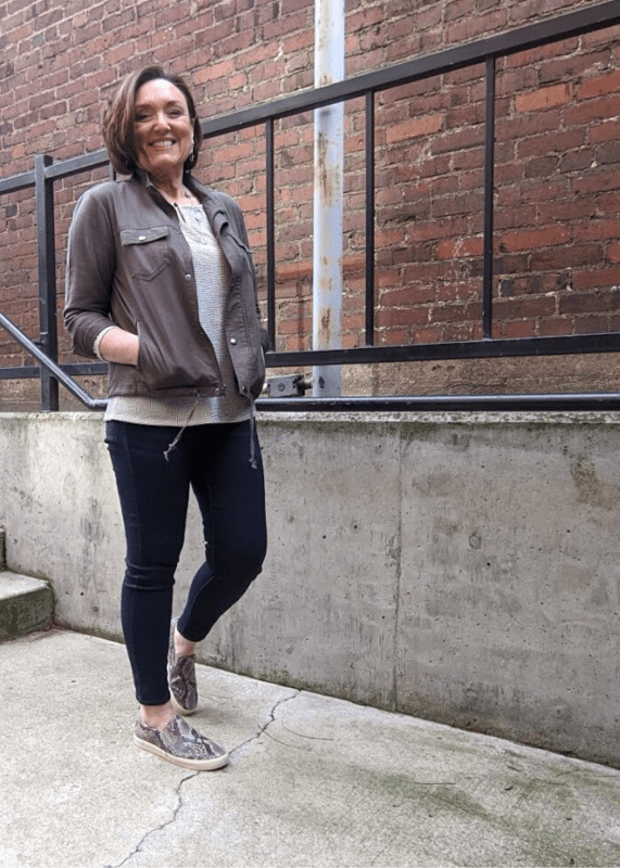faux snakeskin slip on sneakers with jean jeggings outfit