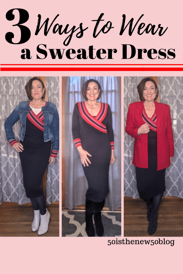 Blog post showing 3 ways to wear a sweater dress