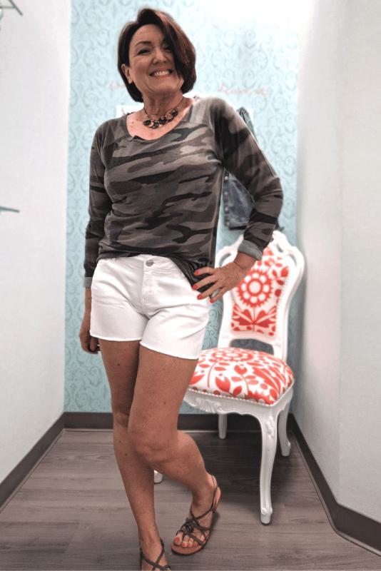 raw edge neck camo pullover with white denim shorts