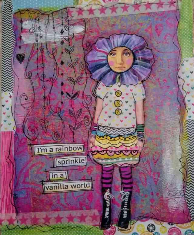 Mixed media paper doll art journal pages  by Karen Tews Lien Mixed Media Artist