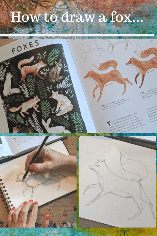 How to make a mixed media fox art journal page.  The Creature Garden - An Illustrator's Guide to Beautiful Beasts & Fictional Fauna by Harry & Zanna Goldhawk