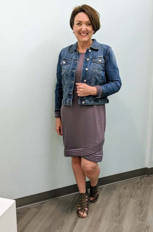 Maurices Tulip Hem Sweater Dress,  Blue Jean Jacket and Strappy Heels