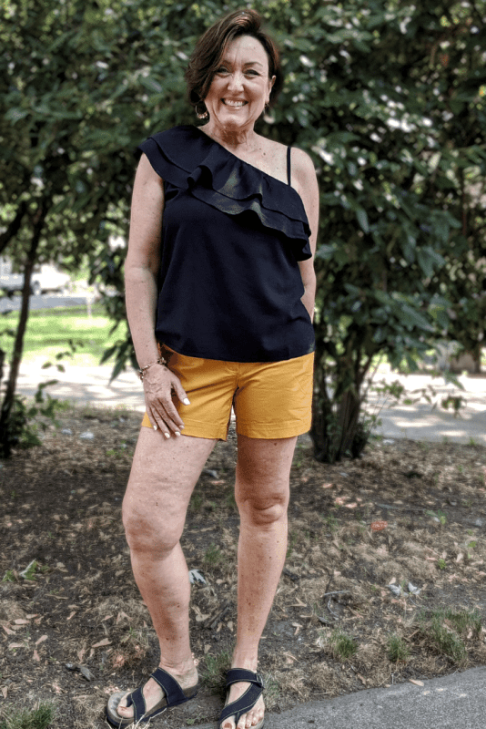 Old Navy sunflower gold Shorts and black Ruffle-Tiered One-Shoulder Top