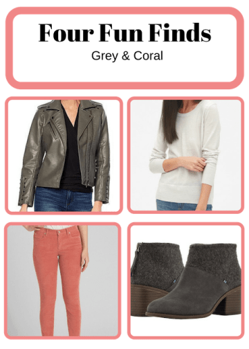grey and coral fun fashion finds outfits