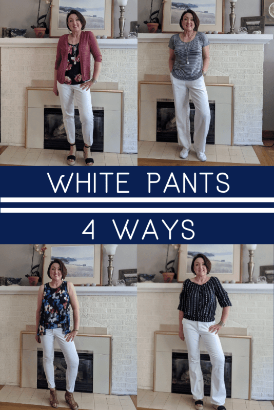 White pants shown 4 ways for summer outfits.