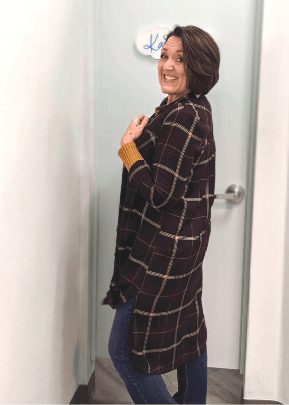 Plaid duster jacket shirt outfit from Maurices