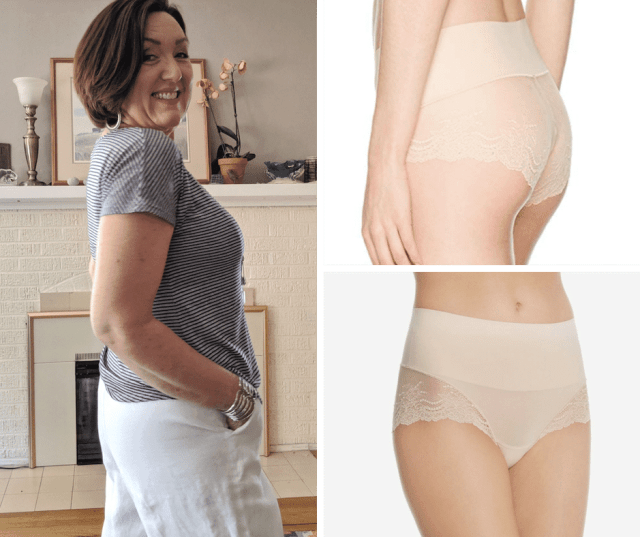 SPANX Women's Undie-Tectable Lace Hi-Hipster underwear in soft nude are a great pair of underwear to wear with white linen pants
