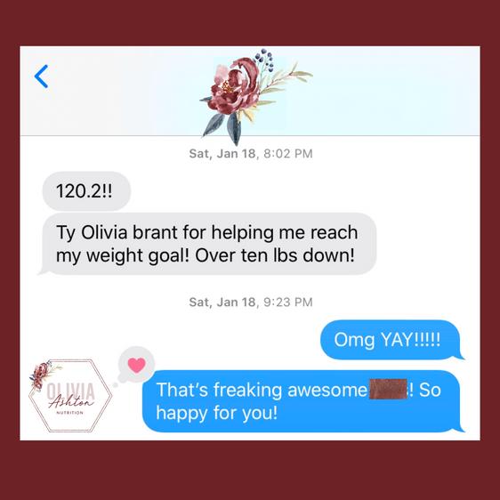 Olivia Ashton Nutrition Client Win's