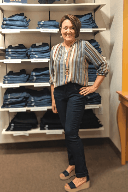 fall tapered slim leg jeans in the perfect  with boho blouse outfit from christopher and banks