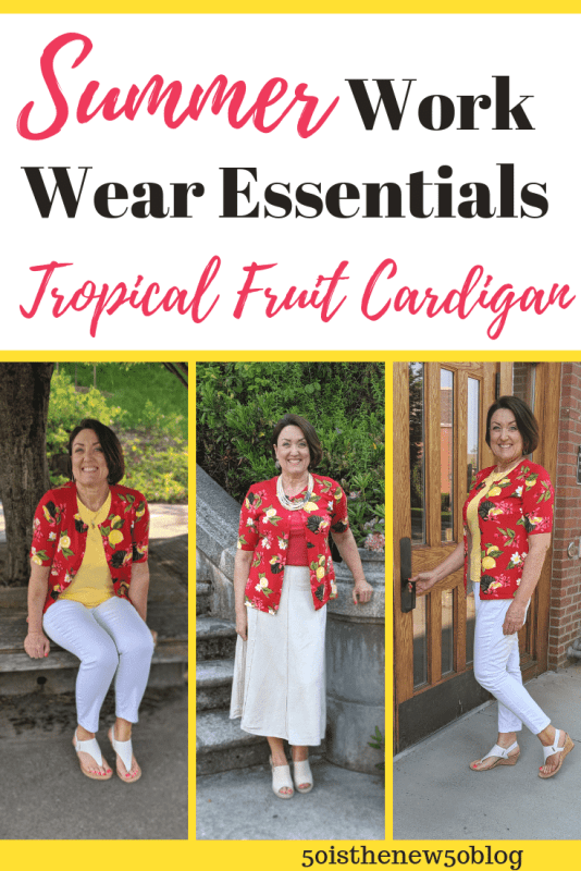 Tropical fruit printed red cardigan outfits with white jeans for Summer.