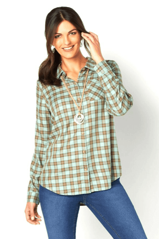 Christopher & Banks carries their Drapey Plaid Shirts in Petite, Missy and Women sizes.