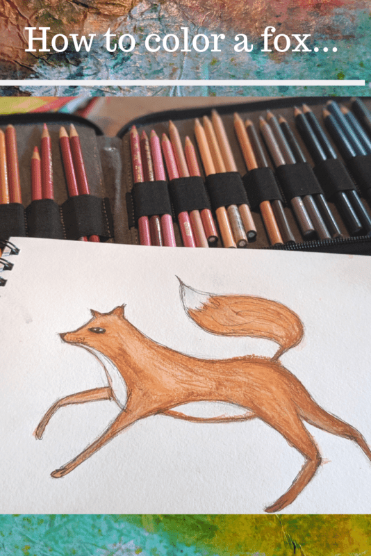 Hand drawn fox painted with watercolors and colored with prisma colored pencils.