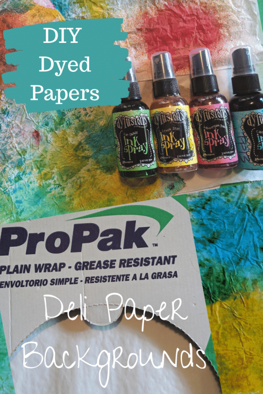 DIY dyed papers using dye ink sprays and deli sandwich paper.