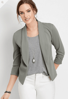 Solid Open Front Blazer in Olive Stone