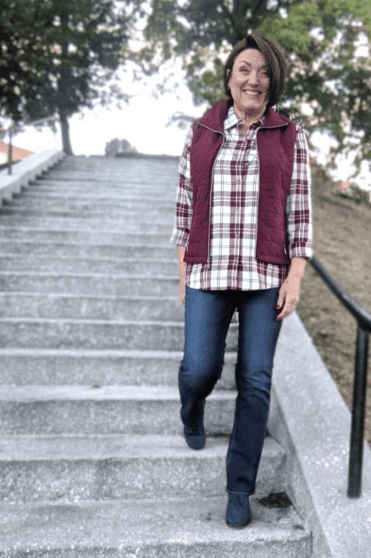 Here is a great outfit idea that will make you look slimmer and taller!  Simple layer a Quilted Vest over an un-tucked Drapey Plaid Shirt.