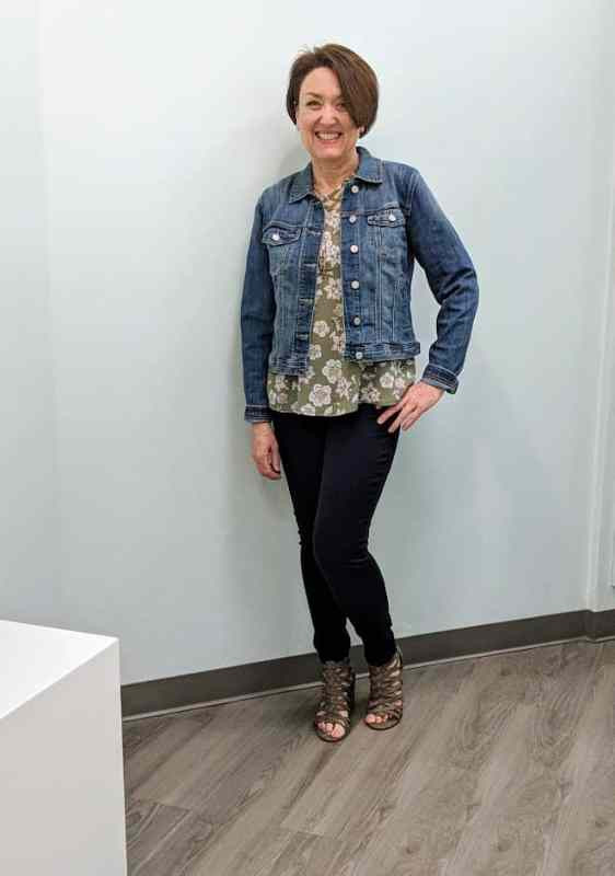 Maurices Getting Styled in DenimFlex™ Jegging , Olive Criss-Cross top,  Blue Jean Jacket & Strappy Heels