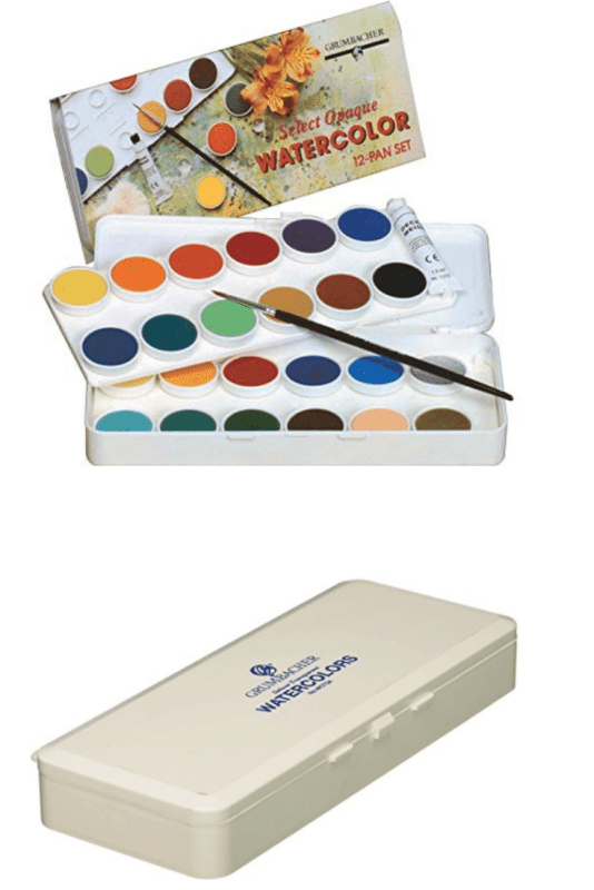 Grumbacher Transparent Watercolor Set.   I like having both transparent and opaque watercolors at hand.