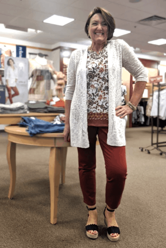 Fall Colored Signature Slimming Ankle Jean and natural cardigan outfit from christopher and banks