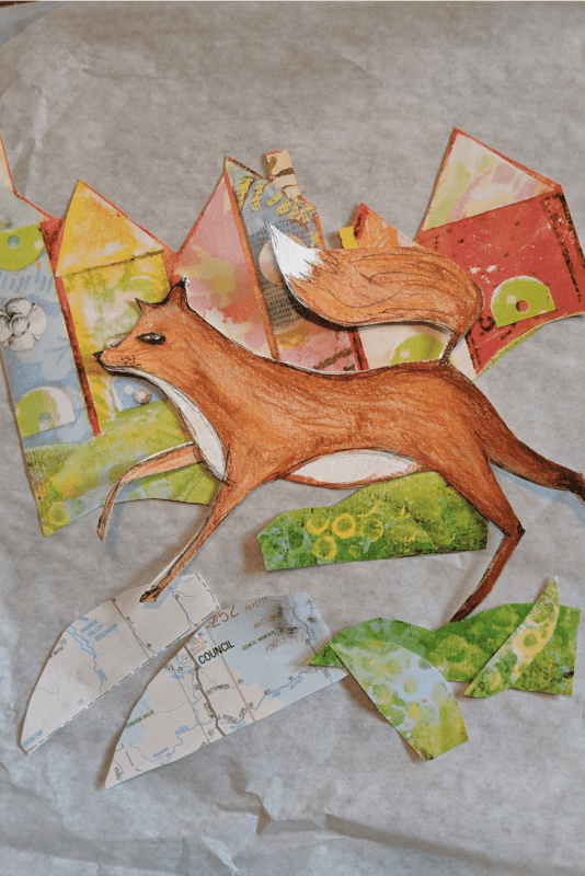 Cut and collage a mixed media fox art journal page.