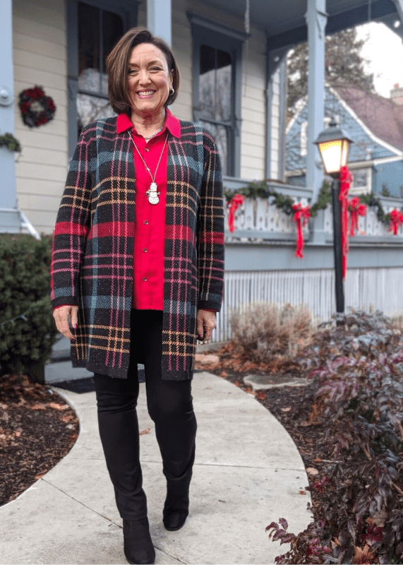This Colorful Plaid Coatagan Sweater is so pretty in this gorgeous plaid design, infused with metallic thread! It looks amazing with this holiday red blouse and black Slimming Stretch Pants.