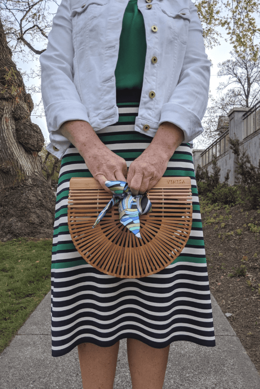 Why not accessorize your Summer outfits with a bamboo birdcage bag and scarf.