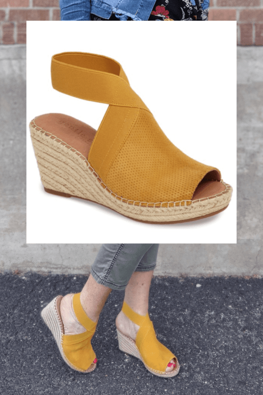 Favoirte best buy from the Nordstrom Anniversary Sale are these Colleen Espadrille Wedges in Marigold Yellow.