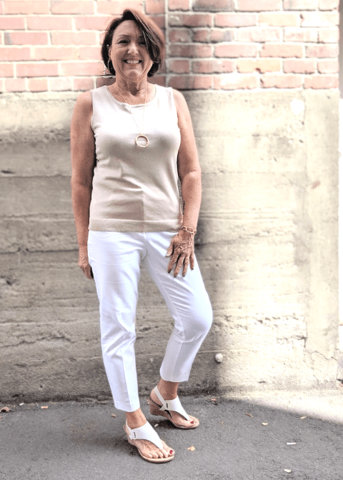 wear white pants into fall with a neutral sweater