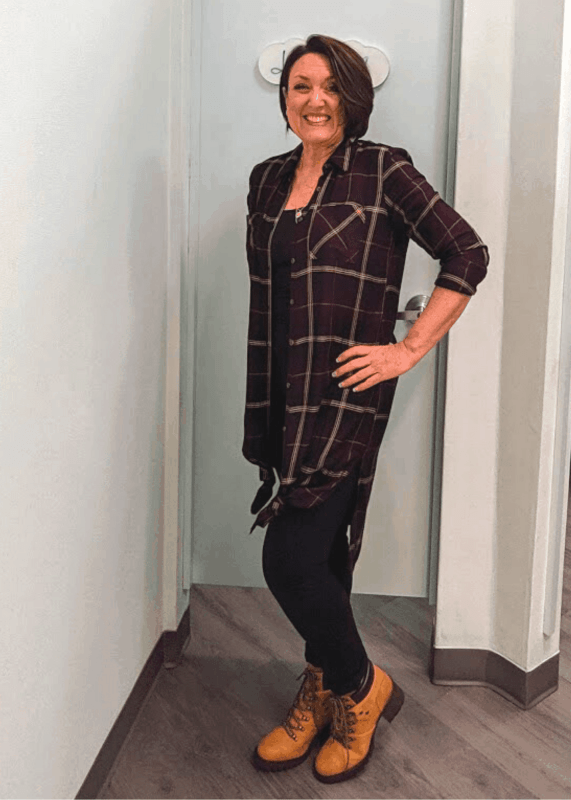 Maurices plaid button down duster shirt outfit for fall
